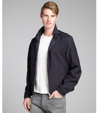 Prada navy reversible zip front rain jacket