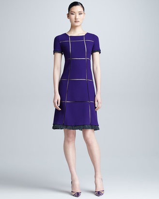 Chado Ralph Rucci Crepe Grid Dress, Violet