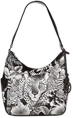 Anuschka Classic Hobo With Side Pockets 382 (Cleopatra's Leopard) Hobo Handbags