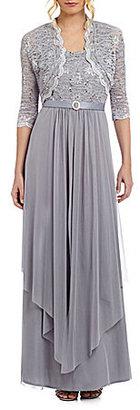 R & M Richards Sequined Lace & Chiffon Jacket Dress $130 thestylecure.com