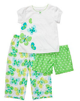 Carter's Girls' 12M-4T White/Green 3-pc. Butterfly Pajama Set