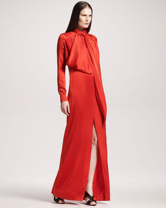 Givenchy Slit-Front Satin Gown