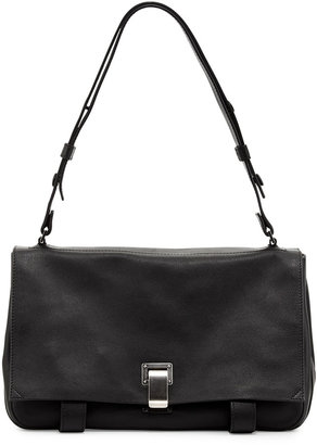Proenza Schouler Courier Small Leather Shoulder Bag, Black
