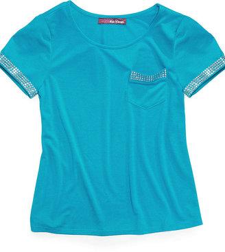 Epic Threads Kids Shirt, Girls Short-Sleeve Studded Pocket Tee