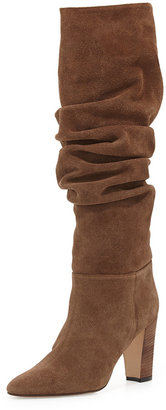 Manolo Blahnik Brunchilee Suede Scrunched Knee Boot, Bisone