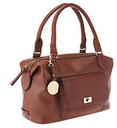 Liz Claiborne New York Satchel with Basketweave Pocket Detail $29.79 thestylecure.com