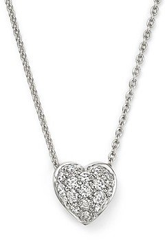 Roberto Coin 18K White Gold Heart Pendant Necklace with Pave Diamonds, 18