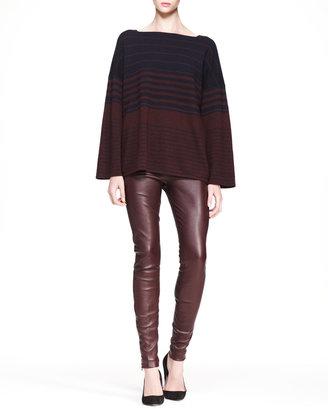 The Row Stretch Leather Skinny Pants, Mahogany