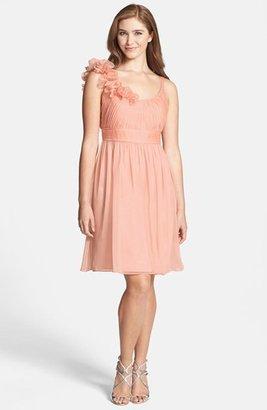 Adrianna Papell Rosette Chiffon Fit & Flare Dress