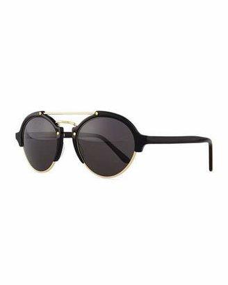 Illesteva Milan II Round Mirror Sunglasses, Black/Gold $300 thestylecure.com
