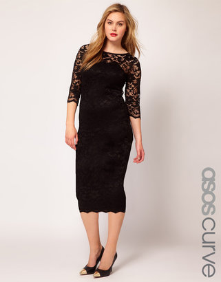 Asos Exclusive Midi Dress In Lace