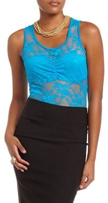 Charlotte Russe Sheer Floral Lace Bodysuit