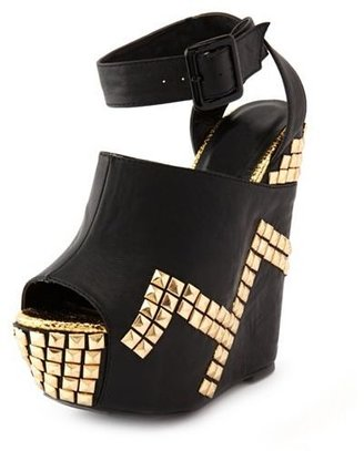 Charlotte Russe Pyramid Stud Ankle-Strap Wedge