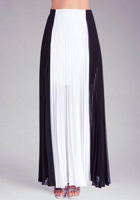 Bebe Pleated Colorblock Maxi Skirt