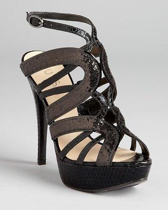 GUESS Evening Sandals - Katura Strappy Glitter Platform