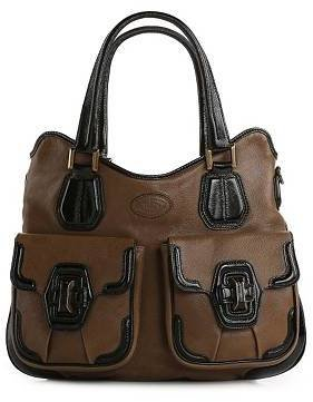 Tod's Leather Patent Trim Satchel