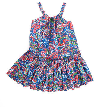 Ralph Lauren Little Paisley Sleeveless Sundress, Royal, 4-6X