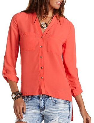 Charlotte Russe Hi-Low Button-Down Blouse