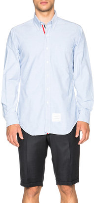 Thom Browne Classic Cotton Button Down with Ribbon Placket in Light Blue | FWRD