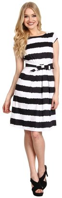 Tahari by Arthur S. Levine Tahari by ASL - Hilda Cotton Satin Stripe Dress (White/Navy) - Apparel