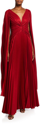Marchesa Notte V-Neck Cape-Sleeve Pleated Lame Chiffon Gown