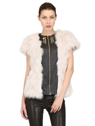 Short-Sleeved Fox Fur Coat