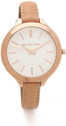 Michael Kors Leather Slim Runway Watch