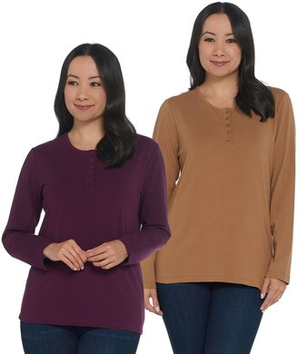 Denim & Co. Set of 2 Long Sleeve Stretch Henleys