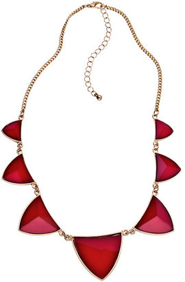 Blu Bijoux Gold And Triangular Red Stone Necklace
