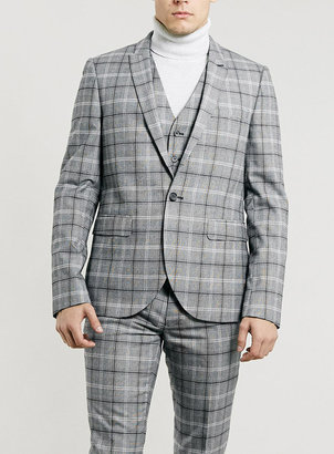 Topman Light Grey And Burgundy Check Three Piece Suit