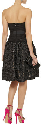 Mikael Aghal Sequined silk and mesh dress