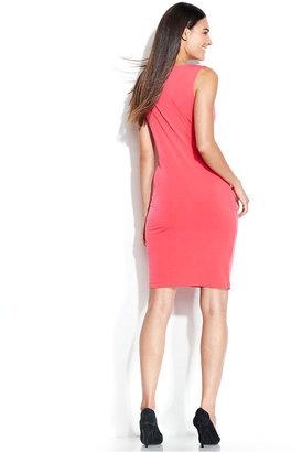 Calvin Klein Sleeveless Zipper Cowl-Neck Dress