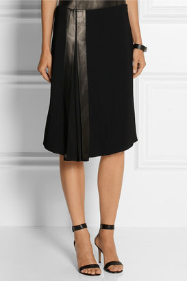 Reed Krakoff Leather-trimmed stretch-cady skirt