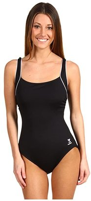 TYR Solid Square Neck Tank Suit (Black) Women's Swimsuits One Piece