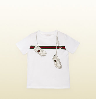 Gucci Kid's T-Shirt With Sneakers And Signature Web Print