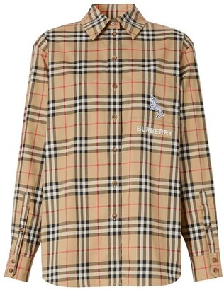 Burberry Zebra Applique Vintage Check Cotton Oversized Shirt