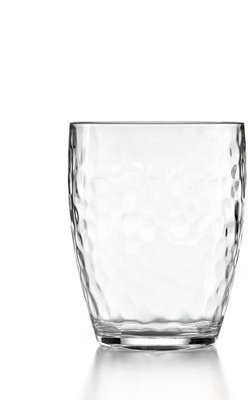 Martha Stewart Collection Drinkware, Set of 4 Acrylic Clear Hammered Double Old Fashioned Glasses