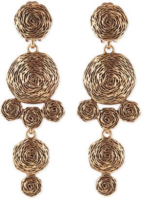 Oscar de la Renta Golden Swirl Drop Clip-On Earrings