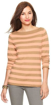 Gap Eversoft envelope-neck neon stripe sweater