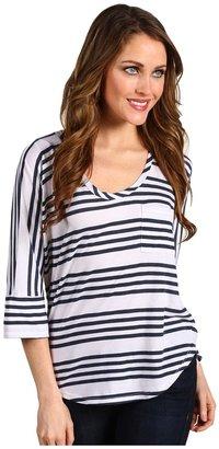 Splendid Capri Stripe 1 Pocket Top (Pearl) - Apparel