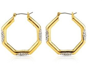 Juicy Couture Pave Octagon Hoop Earring