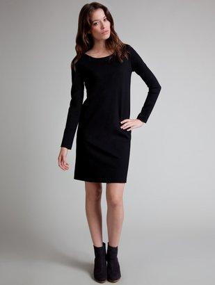 White + Warren Cross Knit Stretch Zip Back Shift Dress