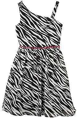 JCPenney by&by Girl One-Shoulder Zebra-Print Dress - Girls 7-16