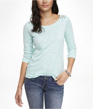 Express Lace Yoke Button Shoulder Tee