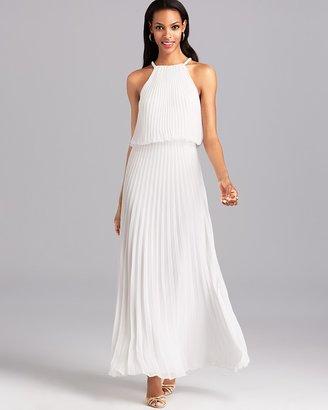 Aqua Gown - Grecian Pleated Blouson