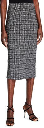 Chiara Boni Delfina Houndstooth Printed Knee-Length Pencil Skirt