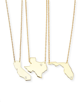 Moon and Lola Personalized State Pendant Necklace, Gold, Missouri-Wyoming