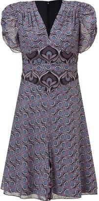 Anna Sui Black and Amethyst Art Deco Printed Dress