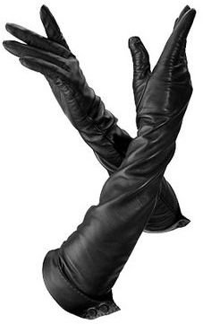 Aspinal of London Ladies Long Leather Gloves Black Nappa