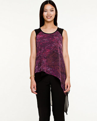 Le Château Abstract Print Chiffon High-Low Blouse